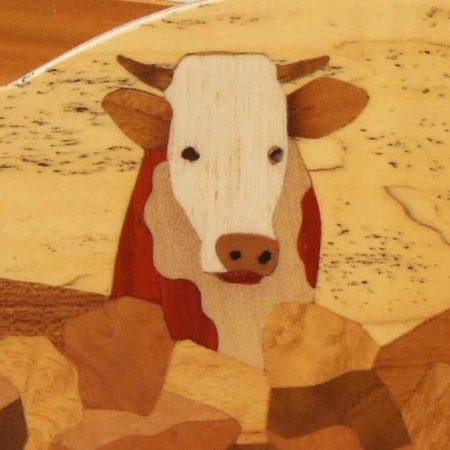 """Range courrier en bois, marqueterie """"vaches"""""""