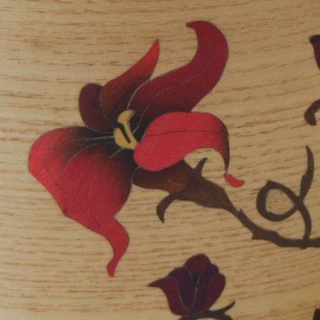 """Pot à crayons en bois, marqueterie """"fleur rouge"""""""