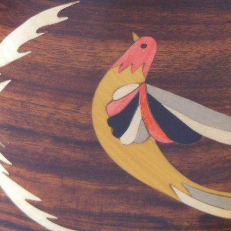 """Pot à crayon en bois, marqueterie """"oiseau"""""""