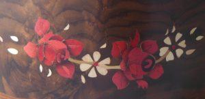 """Pot à crayons en bois, marqueterie """"fleurs délicates"""""""