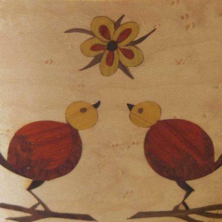 """Pot à crayons en bois, marqueterie """"couple d'oiseaux"""""""