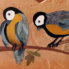 """Range courrier en bois, marqueterie """"Oiseaux"""""""