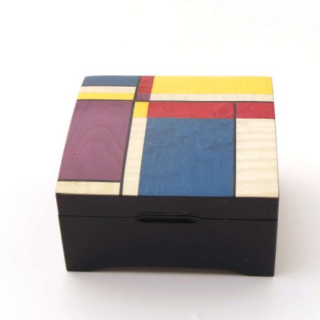 """Boîte à musique bombée - marqueterie """"Couleurs géométriques"""" Li 3"""