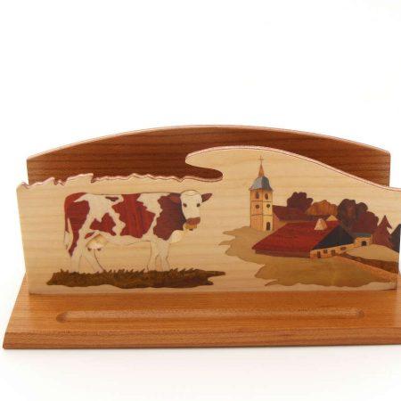 """Range courrier en bois, marqueterie """"Vache et village"""""""