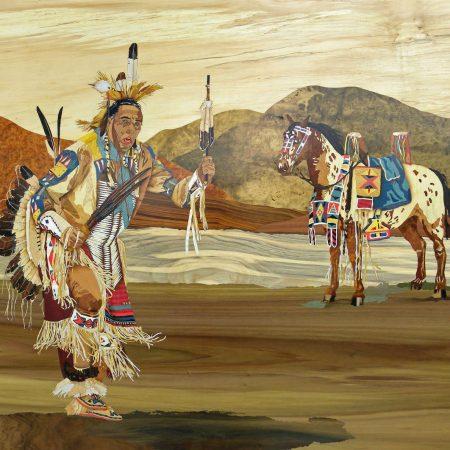 """Tableau avec marqueteries """"Indien et son cheval"""""""