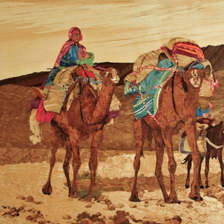 """Tableau avec marqueteries """"Caravane du désert"""""""