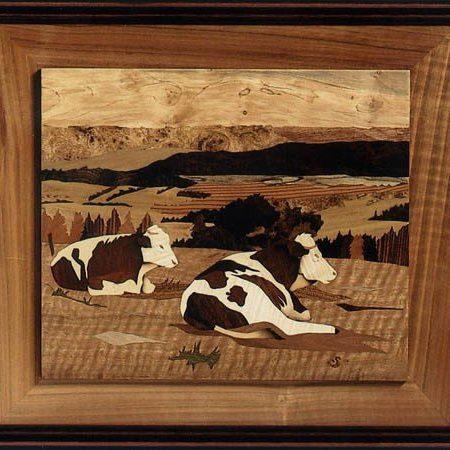 """Tableau en bois - marqueterie """"Vaches au repos"""""""