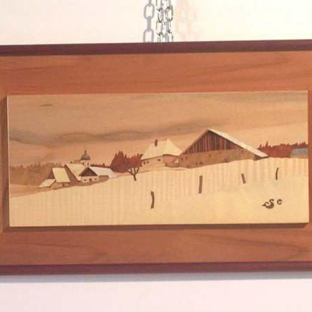 """Tableau en marqueterie """"Village comtois sous la neige"""""""