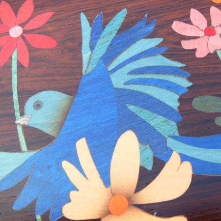 """Boîte à musique, marqueterie """"Oiseaux bleus"""" EM3"""