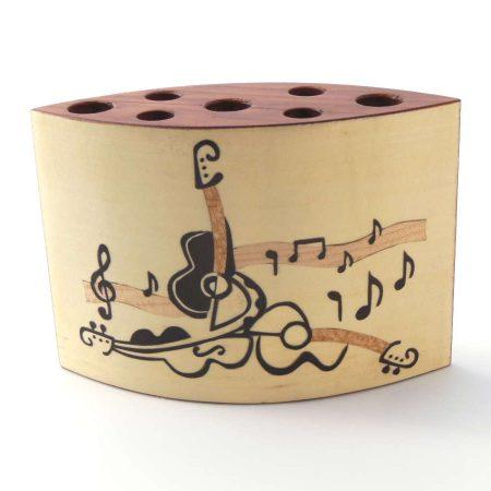 """Pot à crayons en bois, marqueterie """"Notes de musique"""" réf PA11"""