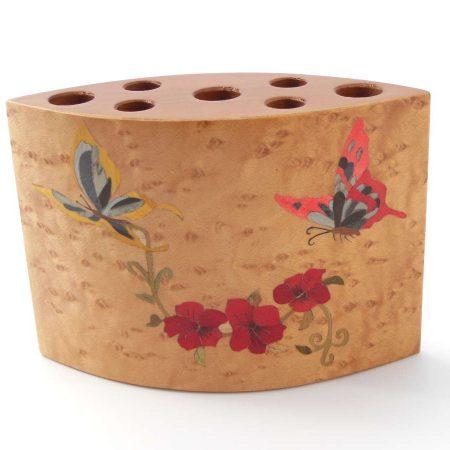 """Pot à crayons en bois """"Papillons"""" réf PA13"""