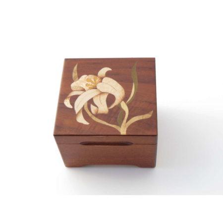 """Coffret à bijoux - marqueterie """"fleur blanche"""" C4"""