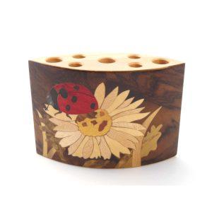 """Pot à crayons en bois """"coccinelle"""" réf PA16"""
