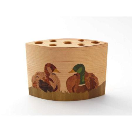 """Pot à crayons en bois """"couple de canard """" réf PA14"""