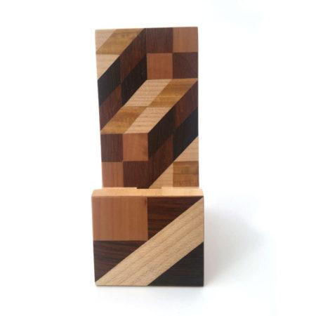 """Support de téléphone en bois """"géométrique"""" réf SP1"""