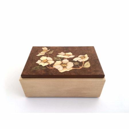 """Boîte à thé - marqueterie """"fleurs blanches"""" Réf BT2"""