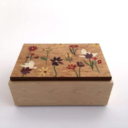 """Boîte à thé - marqueterie """"fleurs et oiseaux blanc"""" réf BT3"""