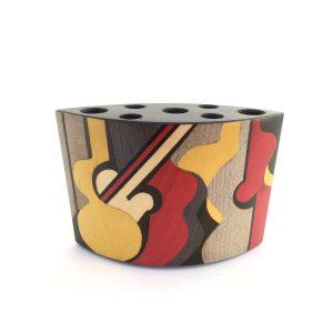 """Pot à crayons en bois """"abstrait musique"""" réf PA8"""
