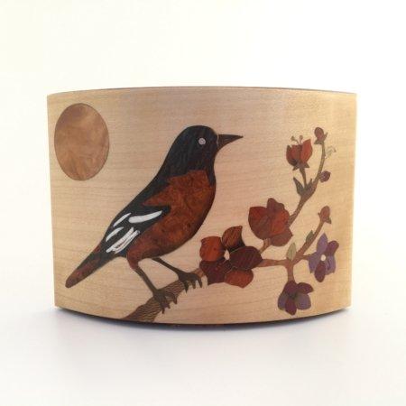 """Pot à crayons en bois """"oiseau sur branche """" réf PA18"""