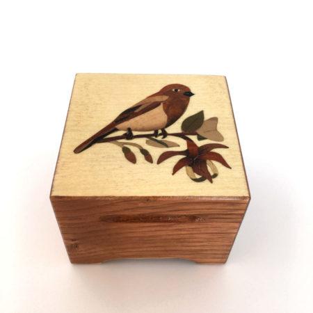 """Coffret à bijoux - marqueterie """"oiseau sur branche"""" - Réf C5"""