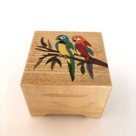 """Coffret à bijoux - marqueterie """"perroquets"""" - Réf C1"""