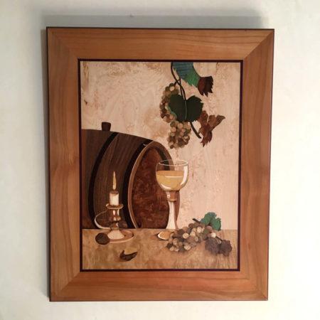"""Tableau en marqueterie """"hommage aux vignerons"""""""