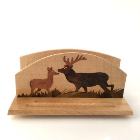 """Range courrier en bois, marqueterie """"zebres"""" - R1"""